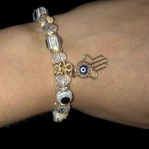 Hamsa Hand Charm with Evil Eye Bracelet - White
